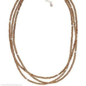 N1591 Silpada Bronze Metallic Glass Necklace (b)
